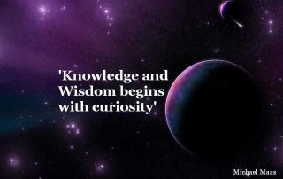 "planet and stars with headline ""Knowledge and Wisdom begins with curiosity"""