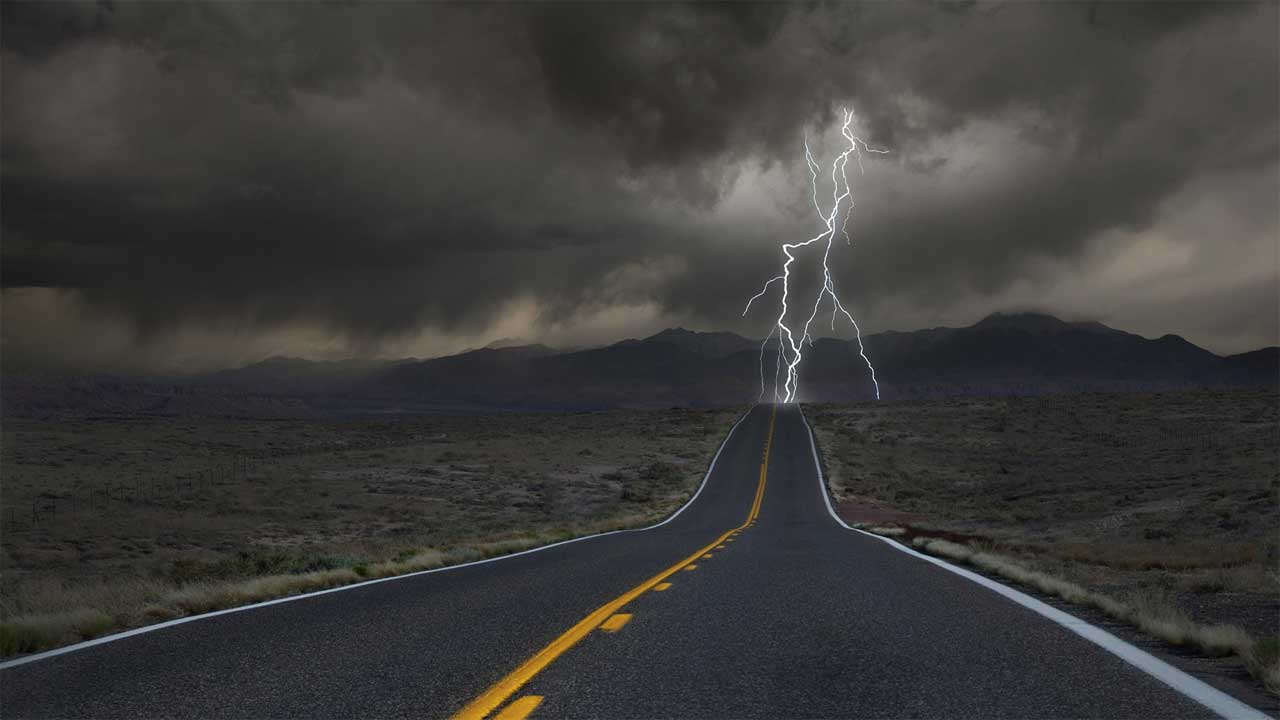 lightning at end of desert highway