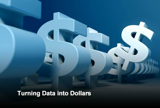 "long row of large dollar signs and headline ""Turning Data Into Dollars"""